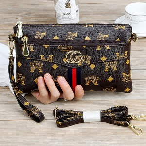 Printed Designers Zipper Closure Adjustable Messenger Bags - Brown