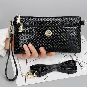 Shiny Zipper Closure Textured Messenger Bags - Black