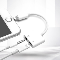 Audio Charging Smart 2 In 1 Adapter Cable For iOS - White