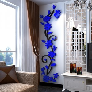 Flower DIY 3D Acrylic Crystal Wall Stickers For Home TV Background Decoration - Blue