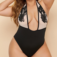 Plus Size Floral Embroidered Fitted Bodysuit