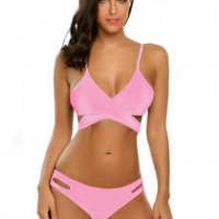 Strapped Shoulder Two Pieces Solid Lingerie Set - Pink