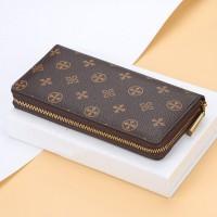 Floral Printed Zipper Closure Luxury Wallets - Brown