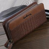 Crocodile Textured Double Zipper Closure Unisex Wallets - Brown
