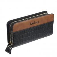 Crocodile Textured Double Zipper Closure Unisex Wallets - Black