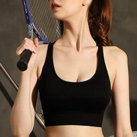 Sports Wear Sexy Fitted Pushup Firm Hold Bra - Black