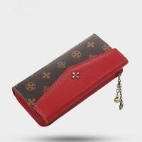 Floral Printed Cross Tassel Zipper Closure Wallets - Red