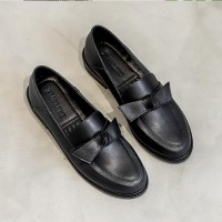 Synthetic Leather Bow Style Elegant Wear Flat Shoes - Black