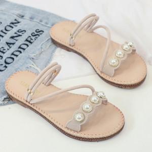 Pearl Decorative Strapped Flat Wear Sandals - Beige
