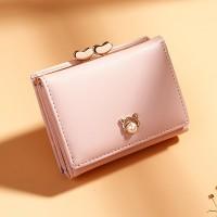 Pearl Decorative Twist Lock Women Fashion Wallets - Pink
