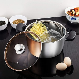 Stainless Steel Glass Lid Firm Handles Cooking Pot