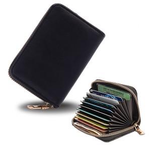 Zipper Closure High Quality Card Organizer And Money Wallet - Black