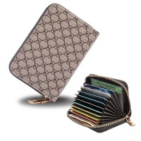 Zipper Closure High Quality Card Organizer And Money Wallet - Khaki