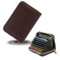Zipper Closure High Quality Card Organizer And Money Wallet - Brown