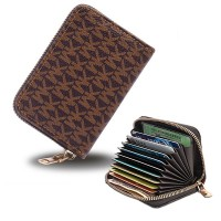 Zipper Closure High Quality Card Organizer And Money Wallet - Dark Brown