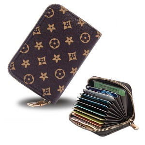 Zipper Closure High Quality Card Organizer And Money Wallet - Chocolate