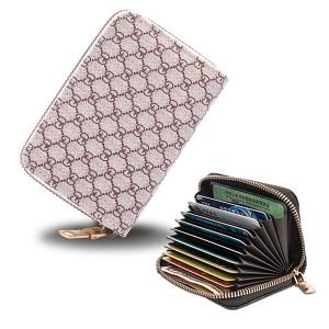 Zipper Closure High Quality Card Organizer And Money Wallet - Beige