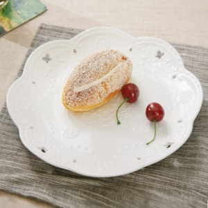 Hollow Wavy Design Decorative Fruits Dining Plate - 6 Inch