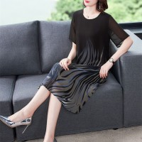 Women Short Sleeve chiffon Floral Dress - Black Gray