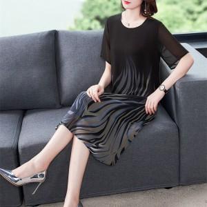 Women Short Sleeve chiffon Floral Dress - Black Gray