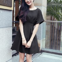 Girls Short Sleeve Fashion Short Dress - Black