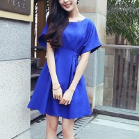 Girls Short Sleeve Fashion Short Dress - Blue