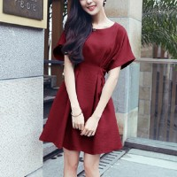 Girls Short Sleeve Fashion Short Dress - Wine