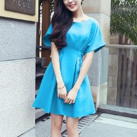 Girls Short Sleeve Fashion Short Dress - Sky Blue