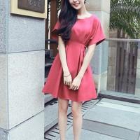 Girls Short Sleeve Fashion Short Dress - Rose