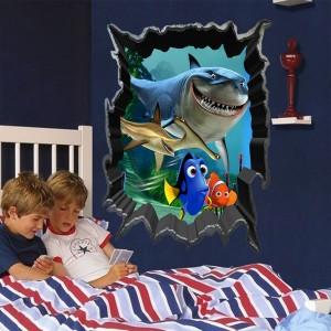 3D Shark Fish Design Children's Bedroom Background Wall Sticker