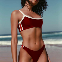 Contrast Solid Beach Wear Sexy Bikini - Red