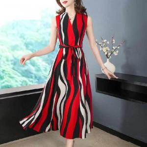 Ladies Fashion Chiffon Sleeveless Long Dress - Red