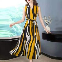 Ladies Fashion Chiffon Sleeveless Long Dress - Yellow