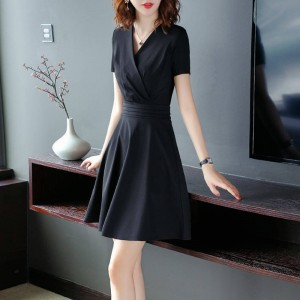 Ladies Fashion Slim Short Sleeve Dress - Black