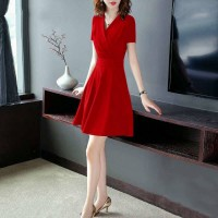 Ladies Fashion Slim Short Sleeve Dress - Red