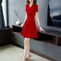 Ladies Fashion Slim Short Sleeve Dress - Red