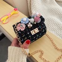 Cute Flower Pearl Crossbody Kids Shoulder Bag - Black