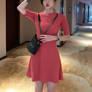 Ladies Fashion Slim Short Dress - Rose Pink