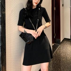 Ladies Fashion Slim Short Dress - Black