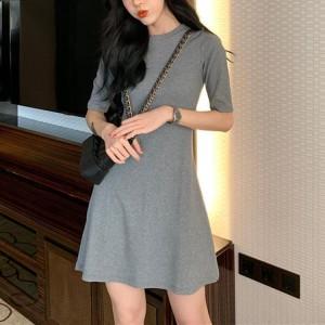 Ladies Fashion Slim Short Dress - Gray