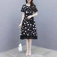 Women Elegant Slim Short Sleeves Dress - Black