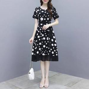 Women Elegant Slim Short Sleeves Dress - Black