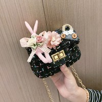 Cute Rabbit Flower Pearl Crossbody Kids Shoulder Bag - Black