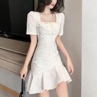 Girls Fashion Slim Puff Sleeves Dress - White