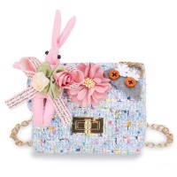 Cute Rabbit Flower Pearl Crossbody Kids Shoulder Bag - Blue