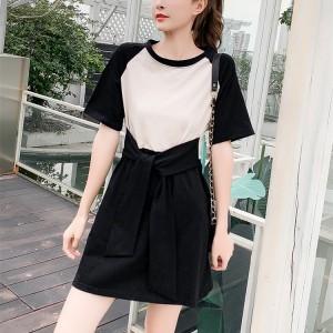Girls Casual Slim Short Sleeves Cotton Dress - Black