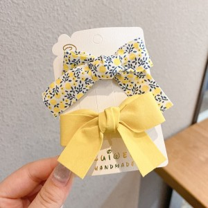 Floral Printed Two Pieces Bow Two Pieces Clips - Yellow