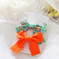 Floral Printed Two Pieces Bow Two Pieces Clips - Orange