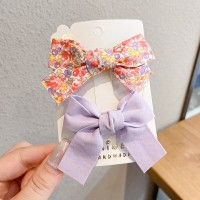 Floral Printed Two Pieces Bow Two Pieces Clips - Purple