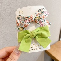 Floral Printed Two Pieces Bow Two Pieces Clips - Green